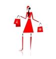 Christmas shopping santa girl with gifts vector image