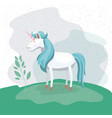 colorful background with unicorn in nature vector image