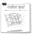 A color me worksheet with a clock vector image vector image