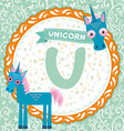 ABC animals U is unicorn Childrens english vector image vector image