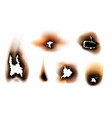 burnt paper fire in holes set vector image