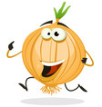 cartoon happy onion character vector image vector image