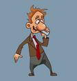 cartoon joyful man in a suit with a tie talking