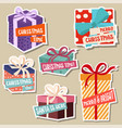christmas stickers collection with gift boxes vector image vector image