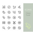 clean food outline icons vector image vector image