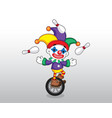 clown on wheel vector image vector image