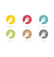 colorful hands in circle icon vector image