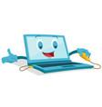 cute laptop computer mascot vector image vector image