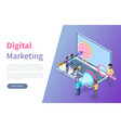 digital marketing online web page or site template vector image vector image