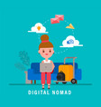 digital nomads concept young adult working with vector image