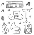 doodle of music hand draw vector image vector image