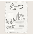 doodle page for kids and children Pony and books vector image