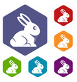 easter bunny icons set hexagon vector image