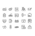 finance bank money icons set thick line vector image vector image