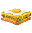 french sandwich with fried egg vector image vector image