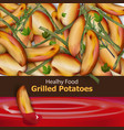 grilled potatoes background menu template vector image