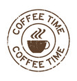 grunge brown coffee time word with cup icon round vector image