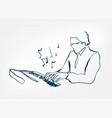 hands piano keys synthesizer sketch line design vector image vector image