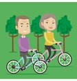 Happy senior couple riding on bicycles in the park vector image vector image