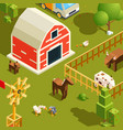 isometric farm landscape village with various vector image