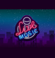 live musical neon sign logo emblem symbol vector image vector image