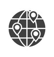 location on globe black icon vector image vector image