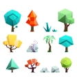 Low poly trees rocks grass icons set vector image