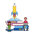 man and woman laptop rocket books education vector image vector image