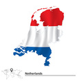 Map of Netherlands with flag vector image vector image