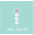 Merry Christmas shining candle button Flat design vector image vector image