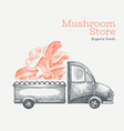mushroom shop delivery logo template hand drawn vector image