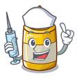 nurse character bottle style mustard sauce yummy vector image