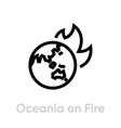 oceania on fire globe icon editable line vector image