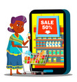 online shopping old woman standing with vector image