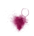 Red wine glass with grunge grape