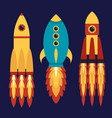rocket spaceship set of flat icons vector image