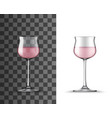 rose wine glass realistic mockup alcohol beverage vector image vector image