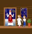 saint nicolas in the door of wooden house two vector image