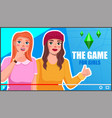 screensaver video post women game bloggers vector image vector image