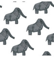 seamless pattern with cartoon elephants vector image