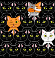 seamless with cats vector image vector image