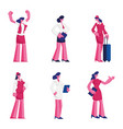 set female characters different professions vector image vector image