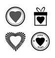 set love icon happy valentine day heart stamps vector image vector image