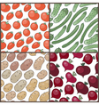 set seamless patterns with vegetables vector image