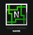 silver letter n logo symbol in the square maze vector image vector image
