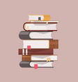 stack antique books with hardcovers and vector image