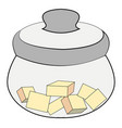 sugar bowl with sugar on white background vector image vector image