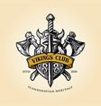 viking helmet shield and axe with ribbon logo vector image vector image