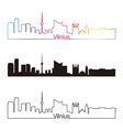 Vilnius skyline linear style with rainbow vector image vector image