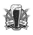 vintage monochrome beer pub logo vector image vector image